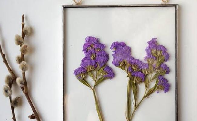 Glass framed pressed fresh flowers