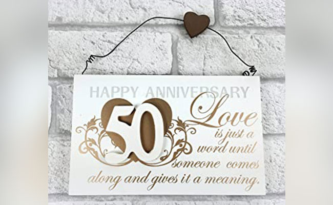 50th Wedding Anniversary Special Wall Plaque