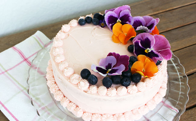 Edible Flowers Birthday Cake