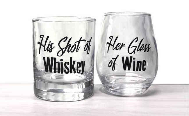 customised couples bar glasses