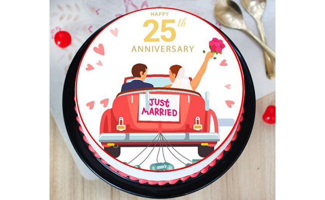 Just Married Anniversary Cake