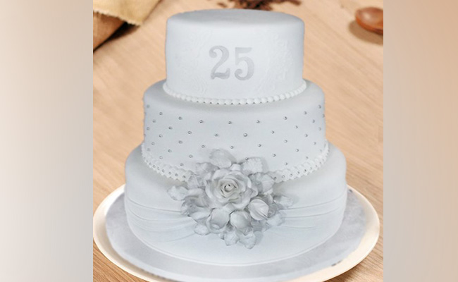 Three-Tier 25th Anniversary Cake