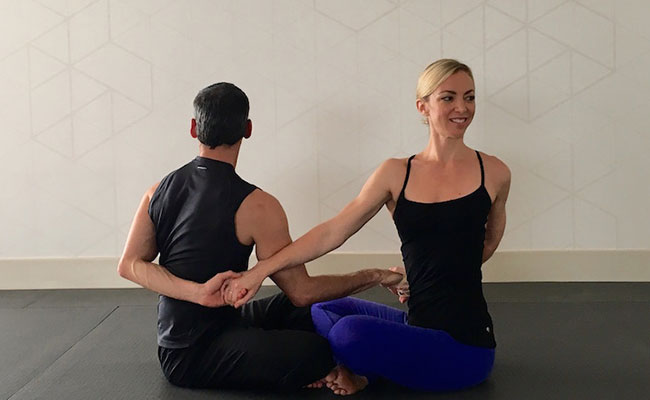 Seated Twist yogasana