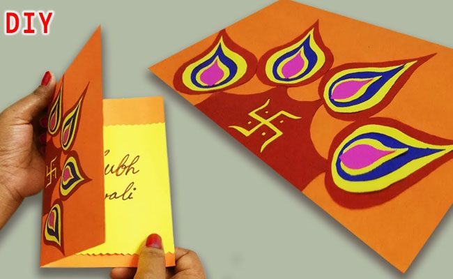 4 handmade cards for diwali  diy diwali greeting cards