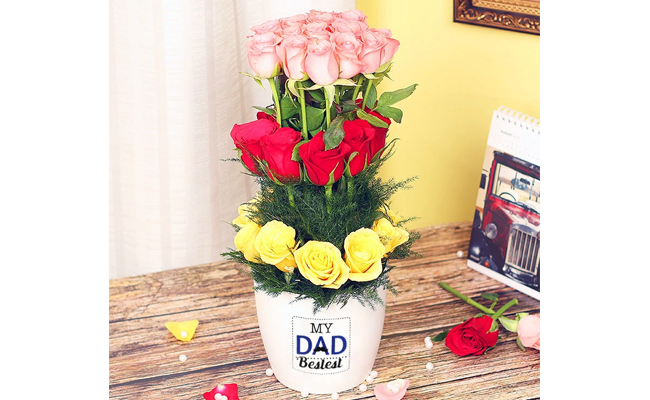 Dad Best Mixed Roses Vase
