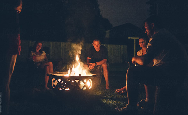 A Bonfire at Backyard