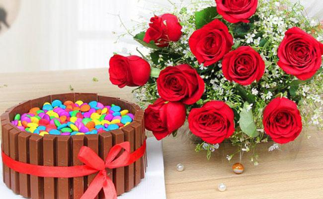 Flowers & Cake Combo