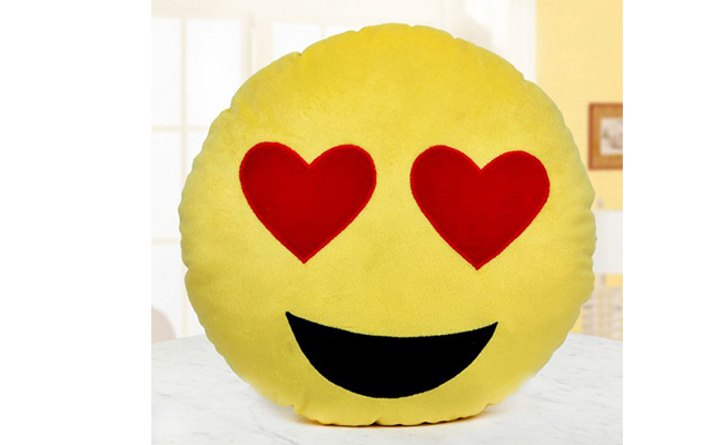 Hearty Eyes Emoji Pillow