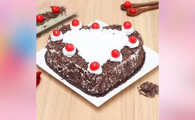 Heart-Shaped BlackForest Cake