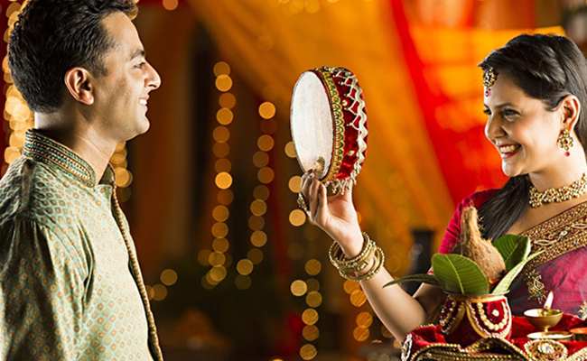 Woman Celebrate Karwa Chauth with Her Husband