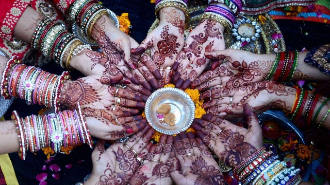 Married Women Gathered for Karwa Chauth Celebration