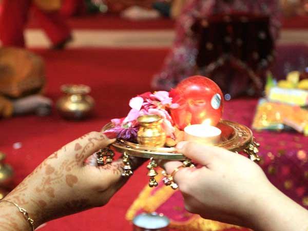 Women Hold Karwa Chauth Pooja Thali for Worship
