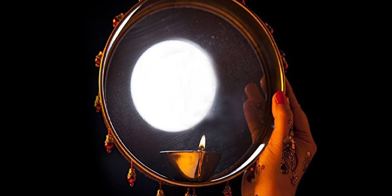 Woman look at the Moon Through a Sieve