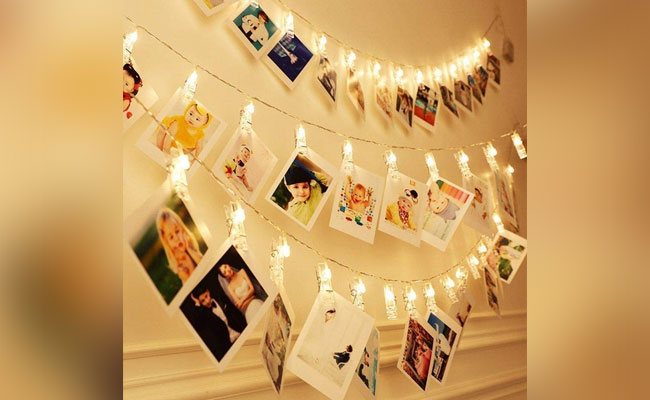 String Of Photographs for Birthday Room Decoration