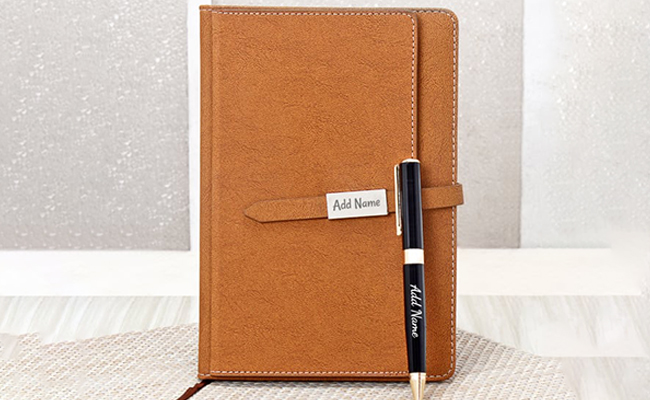 Engraved Diary and Pen