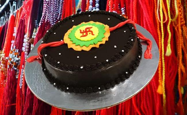 Chocolatey Swastika Rakhi Cake