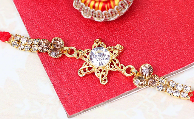 Diamond Golden Rakhi