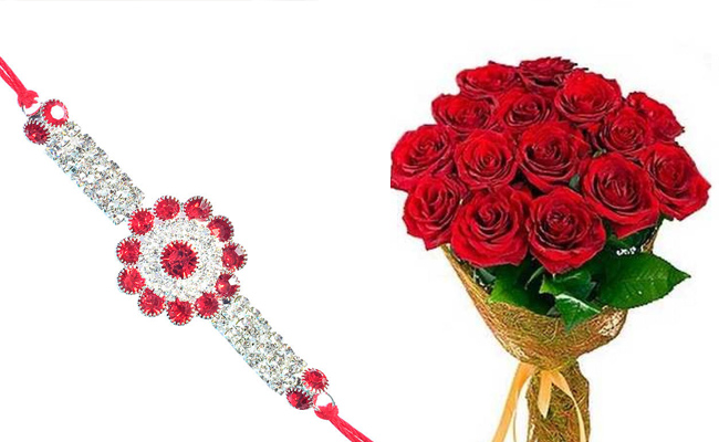 Diamond Rakhi with Roses