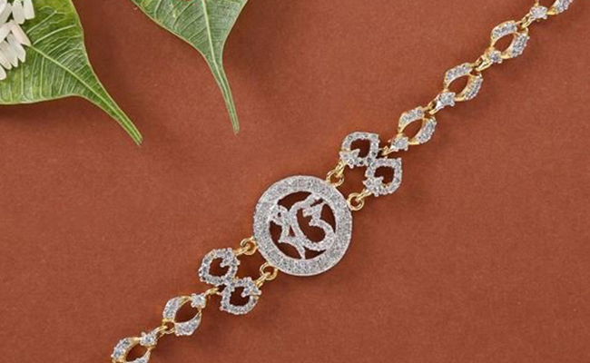 Diamond Studded Bracelet Rakhi