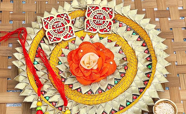 Gota Patti Bhaiya Bhabhi Rakhi Thali