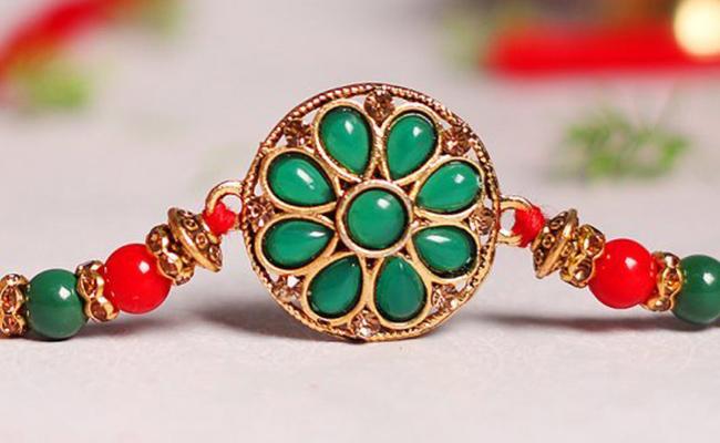 Green Pearl Kundan Rakhi