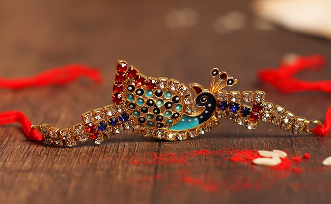 Peacock Bird Diamond Rakhi