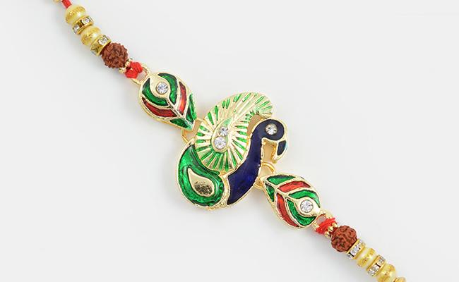 Rudraksha Peacock Rakhi