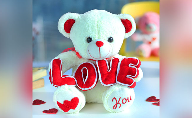Teddy Bear Holding LOVE A Romantic Birthday Gift for her