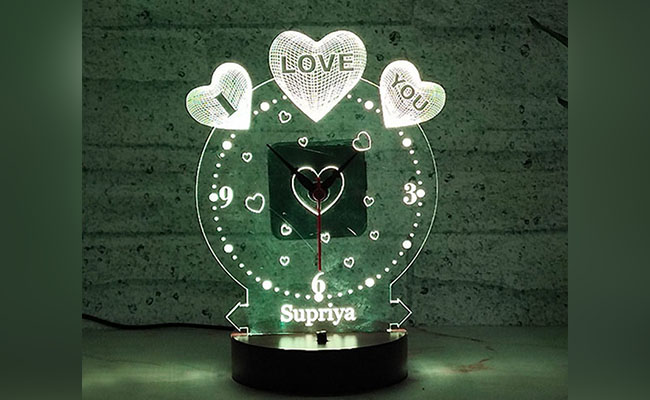 Personalised Glowing led Table Clock