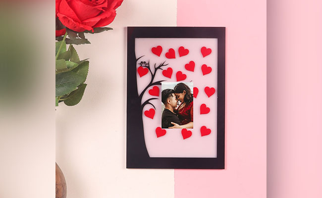 Red Hearts Love Birds Photo Frame for Partner