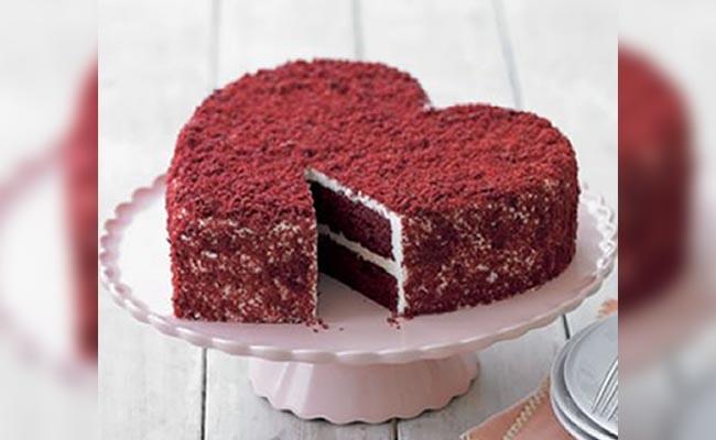 Heart-shaped red-velvet cake