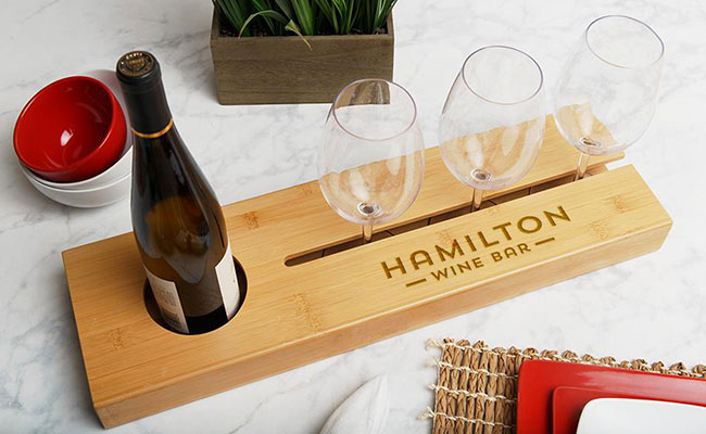 Personalised wine serving tray