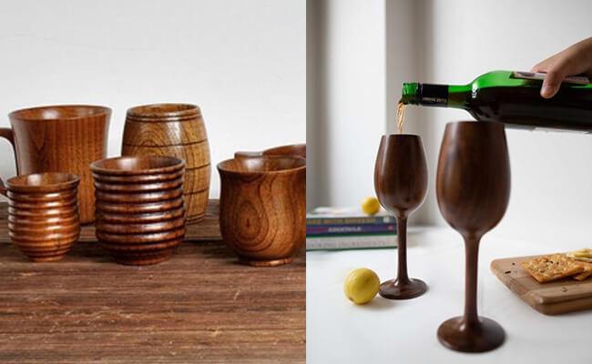 Wooden mugs & wine