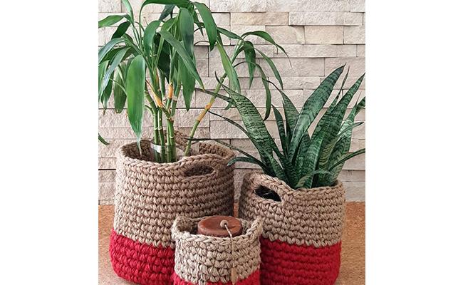 Pair of jute baskets