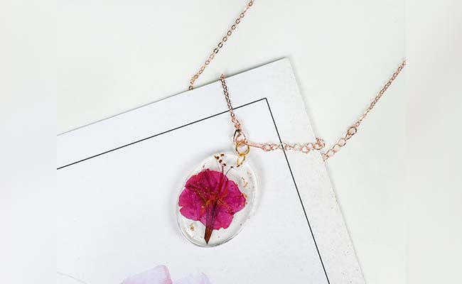 Fossilised Flower Pendant for Mothers Day