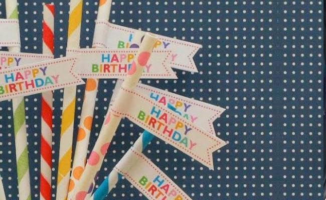 Happy birthday Striped Pencils
