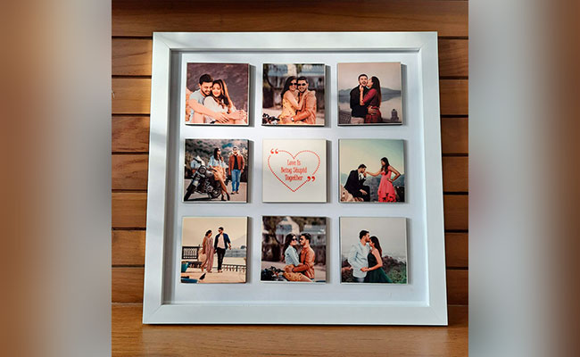 Mix Flower Box With Personalised Photo Frame