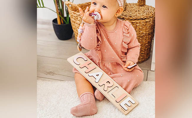 Personalised Wood Name Puzzle For First Birthday Gift