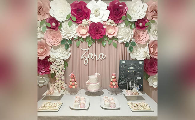 Flower Cake Table For Birthday Party