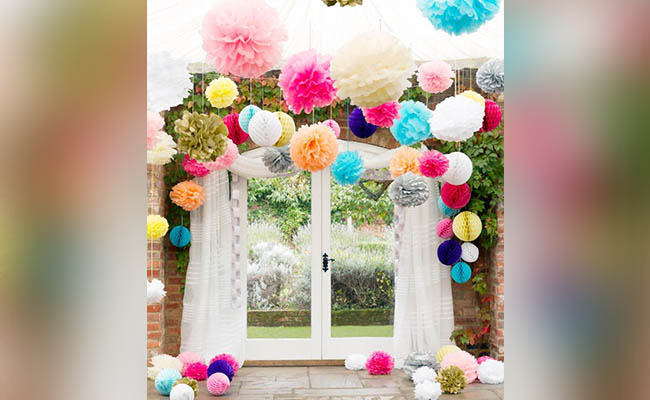 Flower Poms For Birthday Party