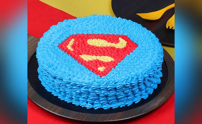 Superman Shield Birthday Cake For Boys