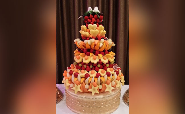 Fruit tower birthday cake