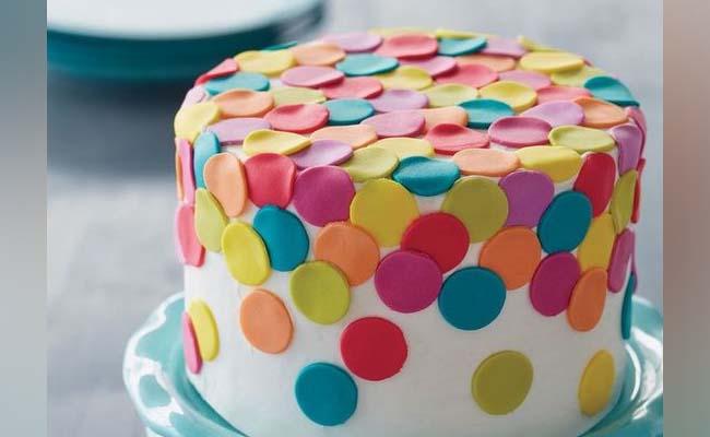Colourful fondant cake