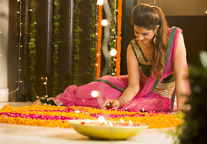 Diwali Decoration Ideas with Flowers and Lighting