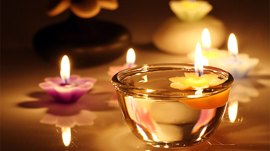 Flowers & Candles For Diwali Home Decoration