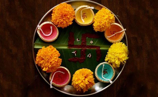 Banana Leaf Swastika Pooja Thali Decoration