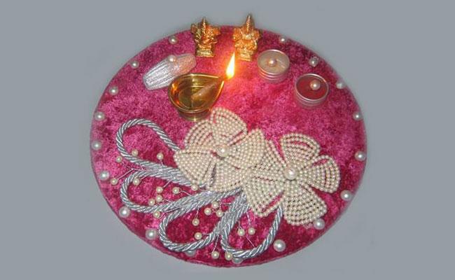 Pearl Pooja Thali Decoration