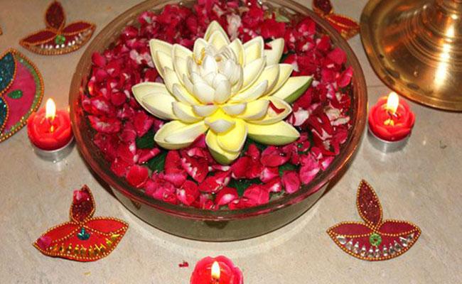 Water Filled Pooja Thali Decoration