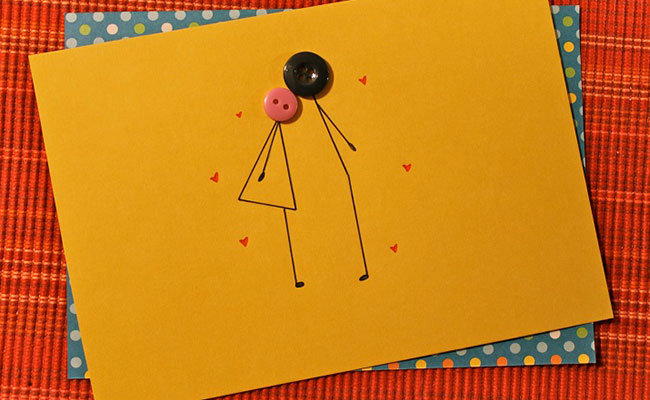 Kissing Button DIY Birthday Card