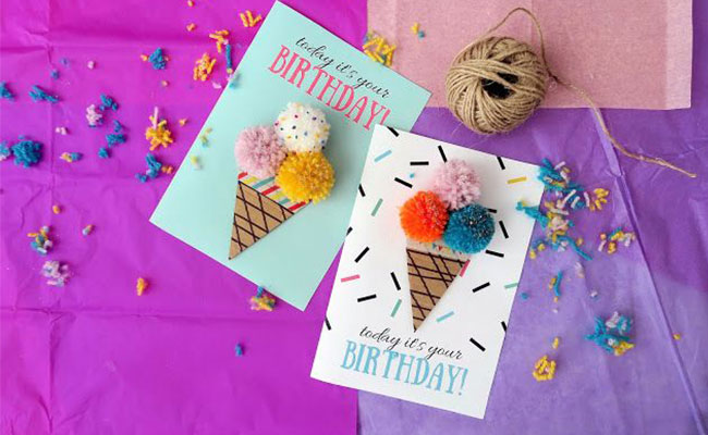 Cotton Ice Cream DIY Birthday Card